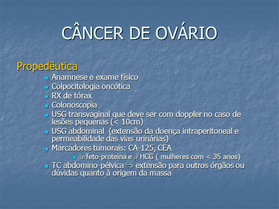 CÂNCER DE OVÁRIO Propedêutica Anamnese e exame físico