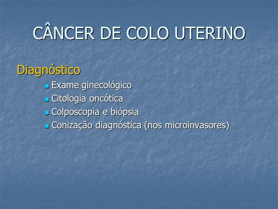 CÂNCER DE COLO UTERINO Diagnóstico Exame ginecológico