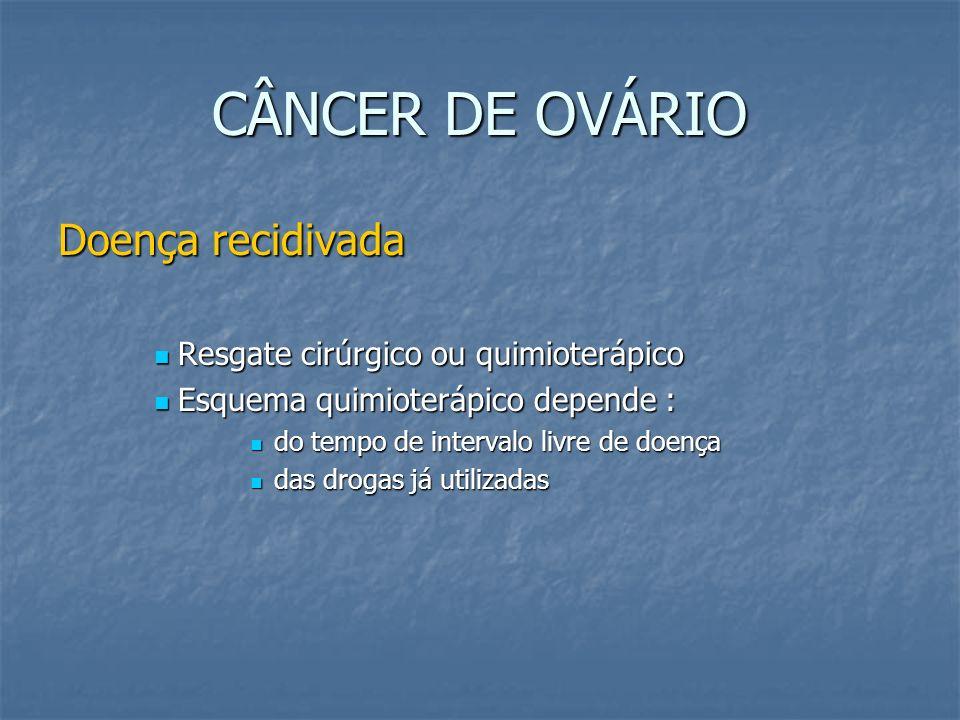 CÂNCER DE OVÁRIO Doença recidivada Resgate cirúrgico ou quimioterápico