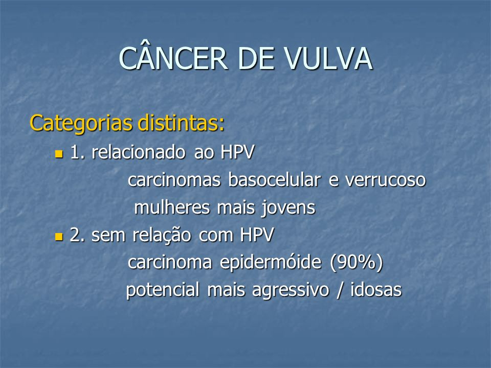 CÂNCER DE VULVA Categorias distintas: 1. relacionado ao HPV
