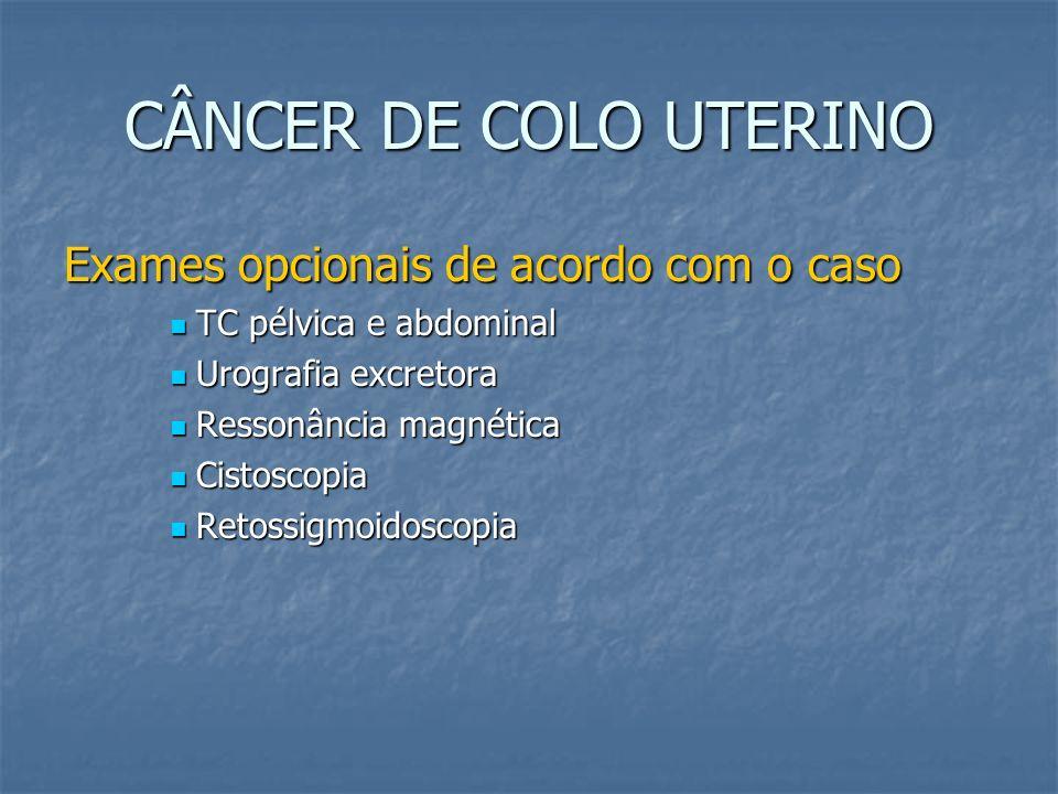 CÂNCER DE COLO UTERINO Exames opcionais de acordo com o caso