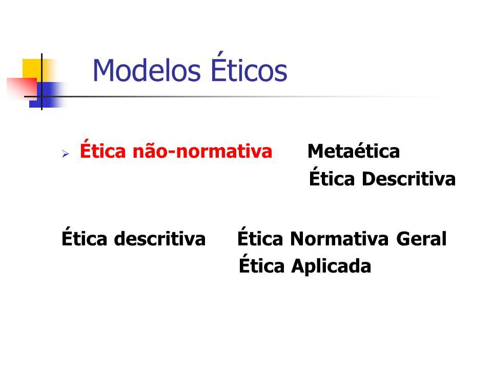 Modelos Éticos Ética não-normativa Metaética Ética Descritiva