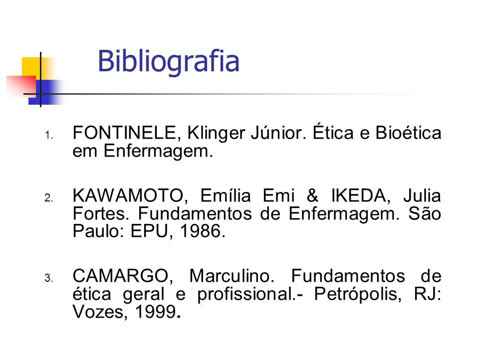 Bibliografia FONTINELE, Klinger Júnior. Ética e Bioética em Enfermagem.