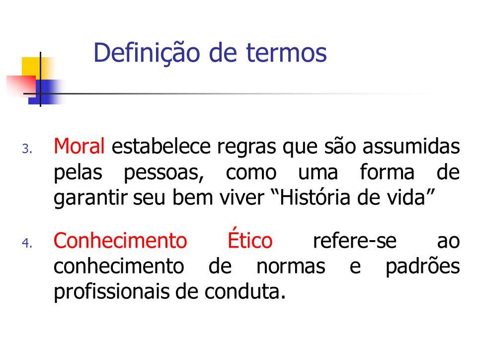 Definição de termos Moral estabelece regras que são assumidas pelas pessoas, como uma forma de garantir seu bem viver História de vida