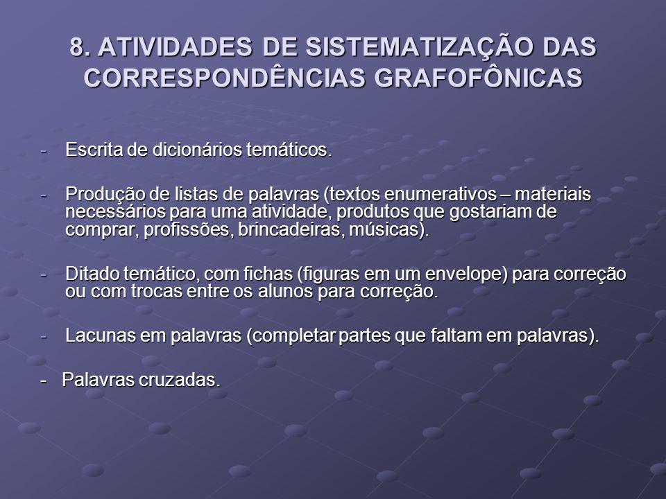 8. ATIVIDADES DE SISTEMATIZAÇÃO DAS CORRESPONDÊNCIAS GRAFOFÔNICAS