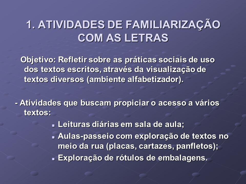 1. ATIVIDADES DE FAMILIARIZAÇÃO COM AS LETRAS