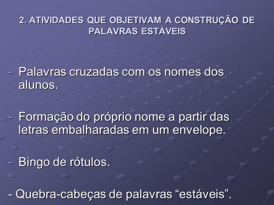 2. ATIVIDADES QUE OBJETIVAM A CONSTRUÇÃO DE PALAVRAS ESTÁVEIS