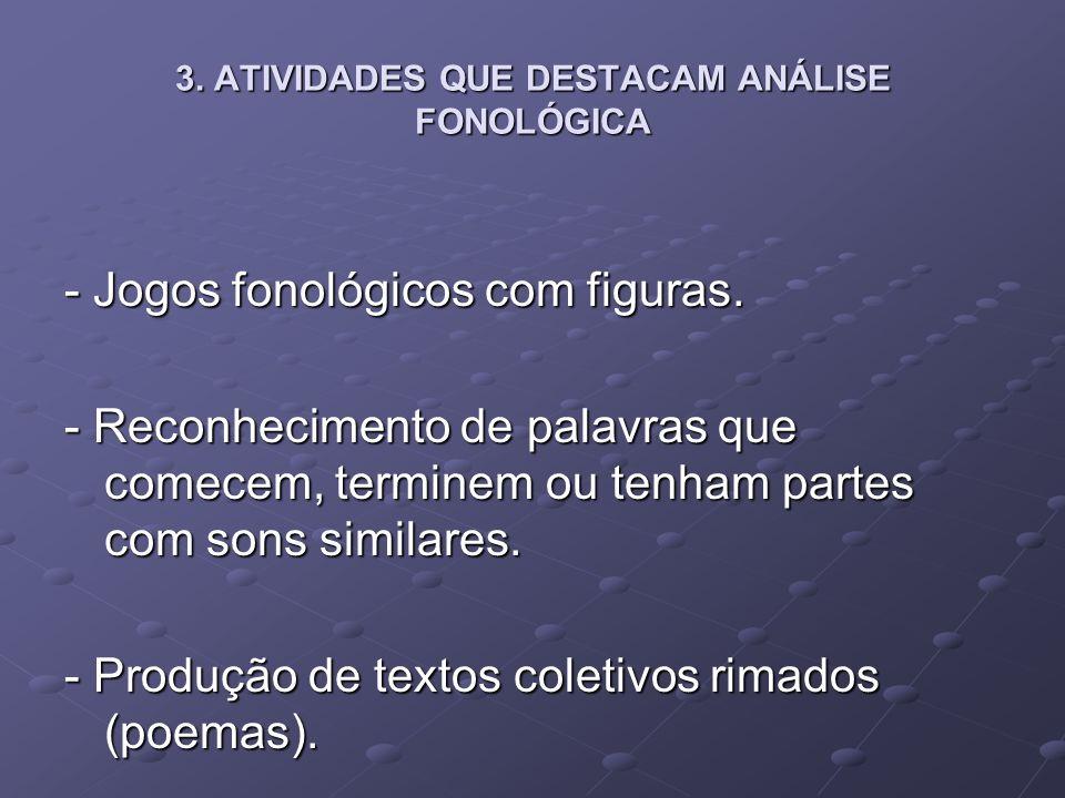 3. ATIVIDADES QUE DESTACAM ANÁLISE FONOLÓGICA