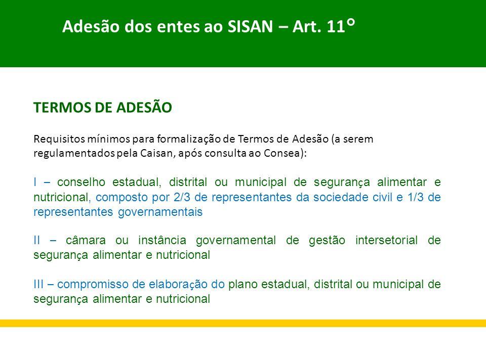 Adesão dos entes ao SISAN – Art. 11°
