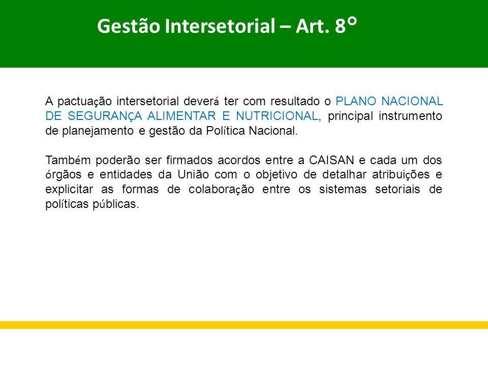 Gestão Intersetorial – Art. 8°