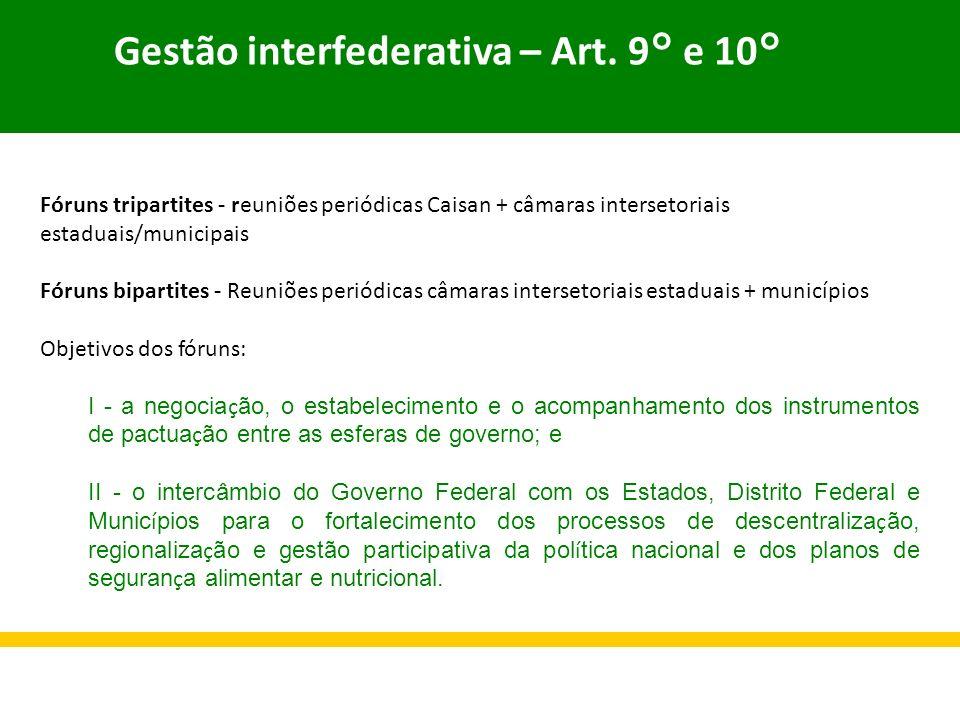 Gestão interfederativa – Art. 9° e 10°