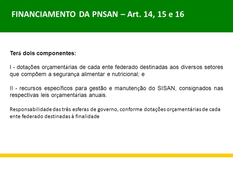 FINANCIAMENTO DA PNSAN – Art. 14, 15 e 16