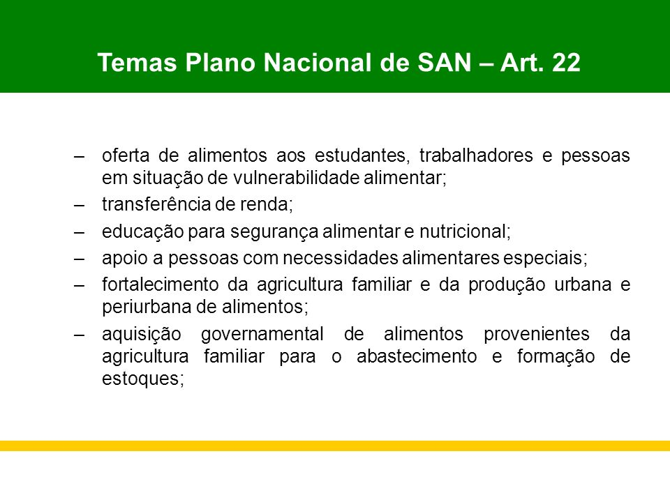 Temas Plano Nacional de SAN – Art. 22