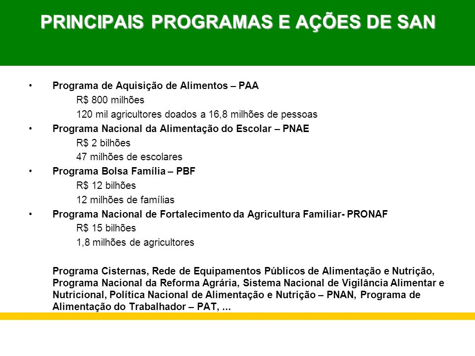 PRINCIPAIS PROGRAMAS E AÇÕES DE SAN