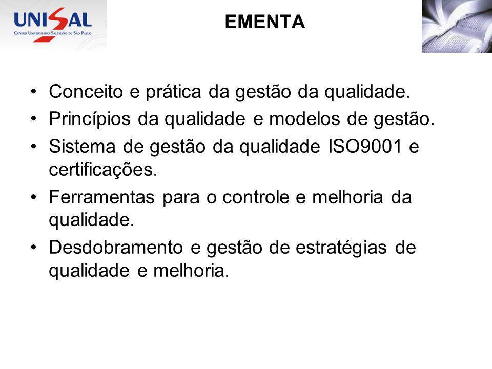 EMENTA Conceito e prática da gestão da qualidade.