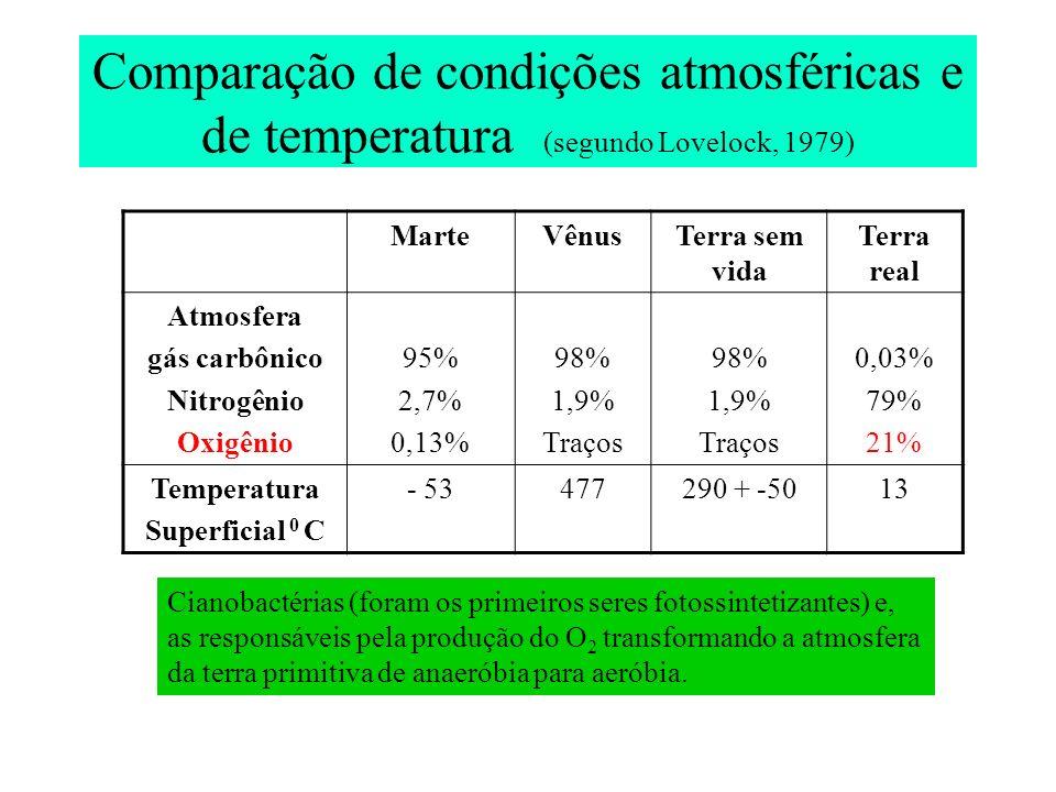 Comparação de condições atmosféricas e de temperatura (segundo Lovelock, 1979)