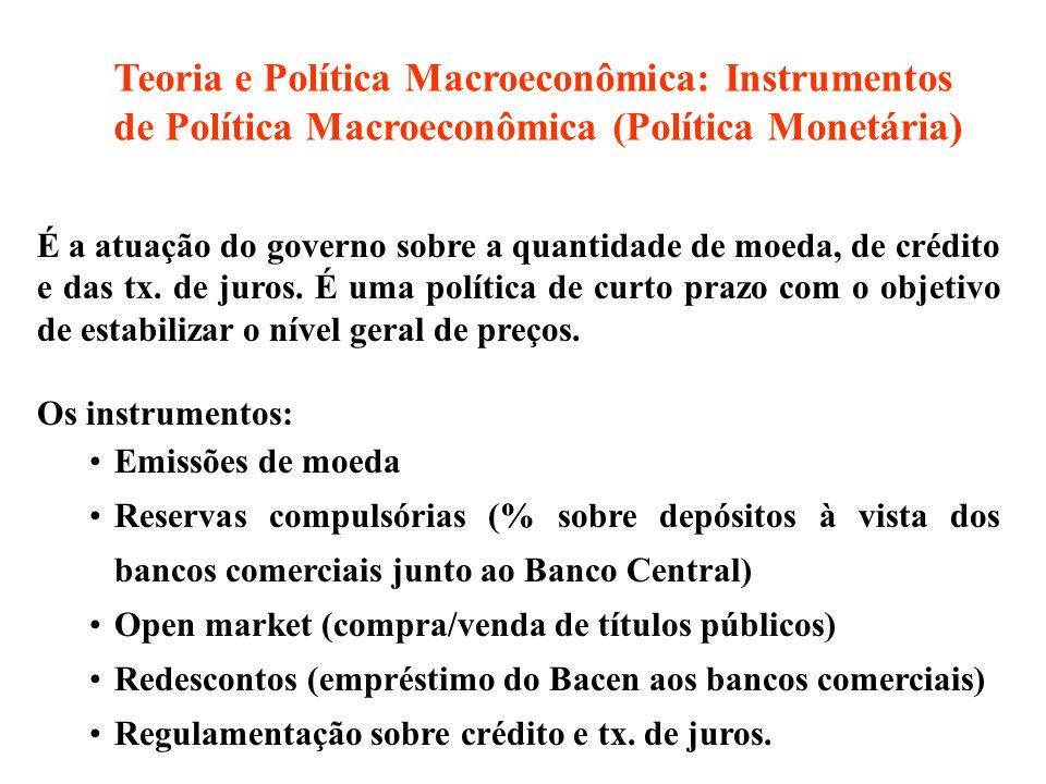 Teoria e Política Macroeconômica: Instrumentos de Política Macroeconômica (Política Monetária)