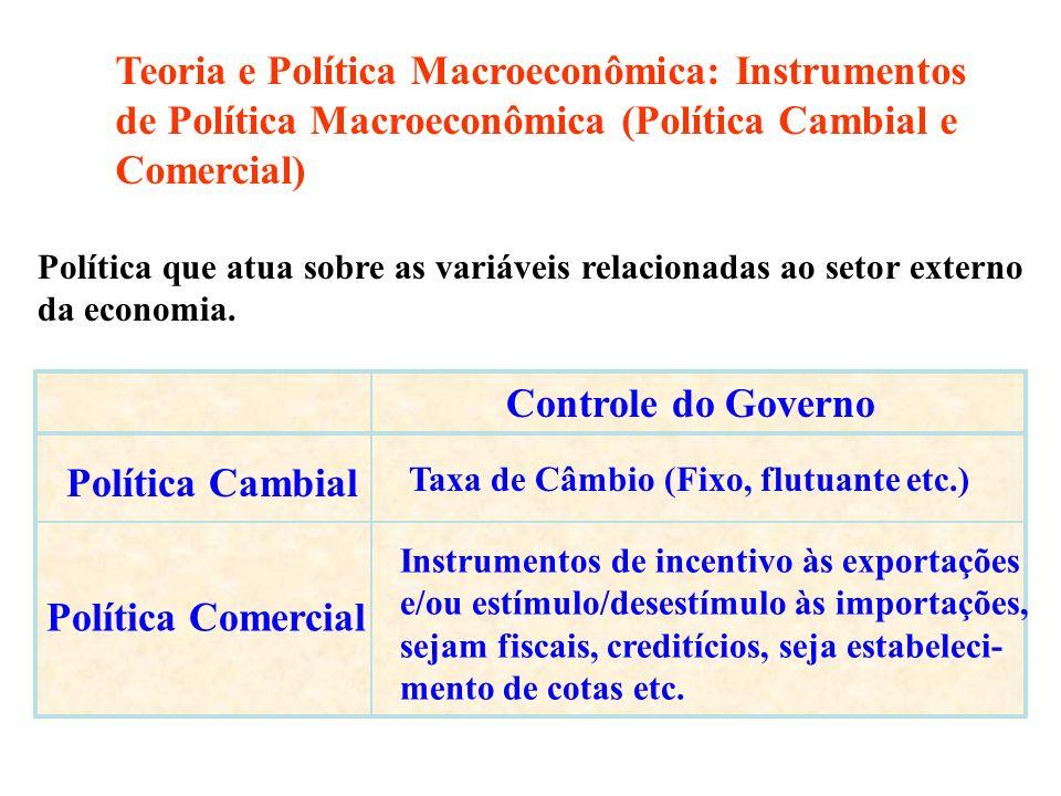 Teoria e Política Macroeconômica: Instrumentos de Política Macroeconômica (Política Cambial e Comercial)