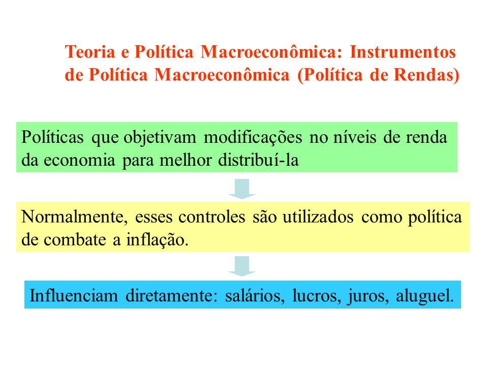 Teoria e Política Macroeconômica: Instrumentos de Política Macroeconômica (Política de Rendas)