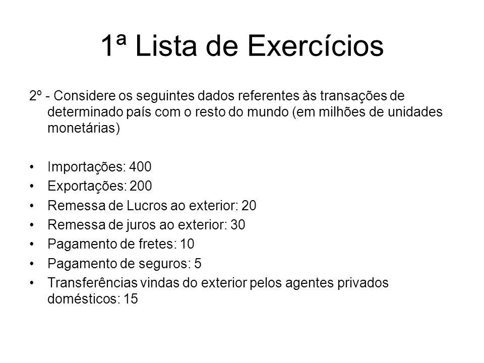 1ª Lista de Exercícios
