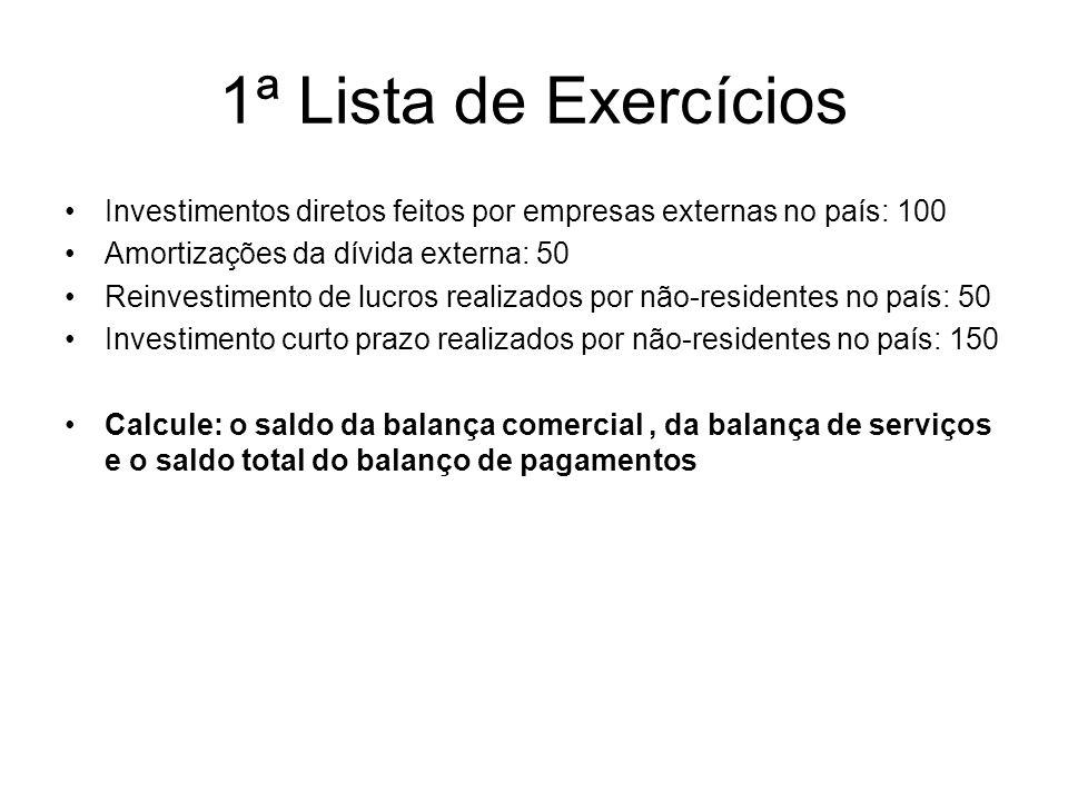 1ª Lista de ExercíciosInvestimentos diretos feitos por empresas externas no país: 100. Amortizações da dívida externa: 50.