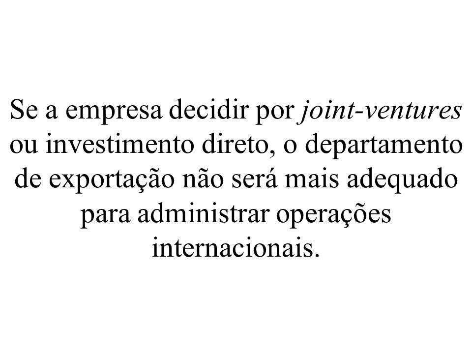 Se a empresa decidir por joint-ventures ou investimento direto, o departamento de exportação não será mais adequado para administrar operações internacionais.