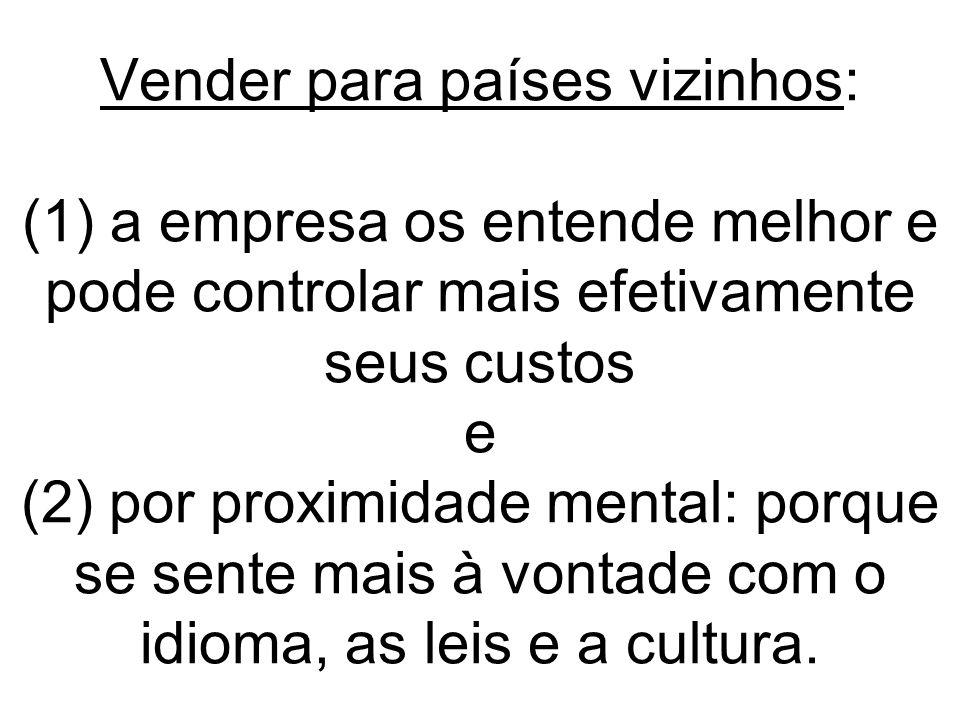 Vender para países vizinhos: (1) a empresa os entende melhor e pode controlar mais efetivamente seus custos e (2) por proximidade mental: porque se sente mais à vontade com o idioma, as leis e a cultura.
