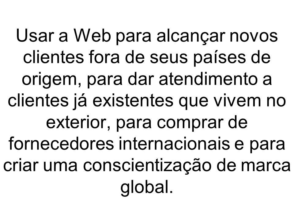 Usar a Web para alcançar novos clientes fora de seus países de origem, para dar atendimento a clientes já existentes que vivem no exterior, para comprar de fornecedores internacionais e para criar uma conscientização de marca global.