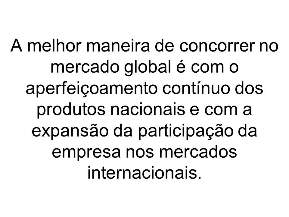 A melhor maneira de concorrer no mercado global é com o aperfeiçoamento contínuo dos produtos nacionais e com a expansão da participação da empresa nos mercados internacionais.