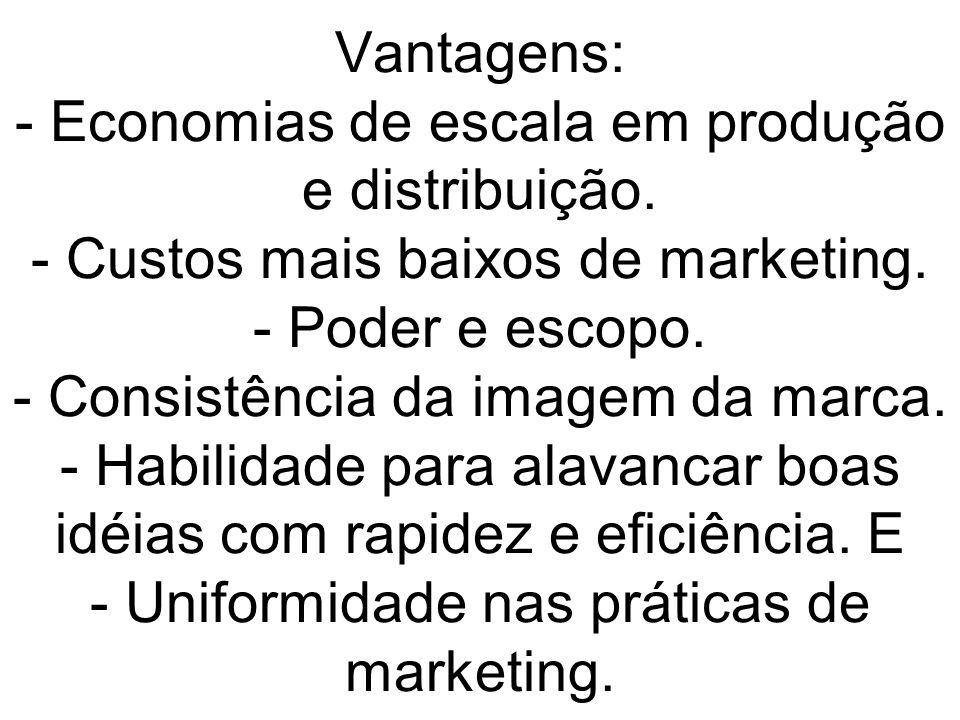 Vantagens: - Economias de escala em produção e distribuição
