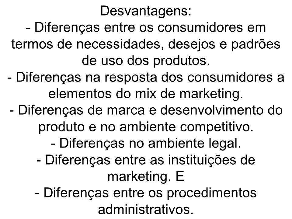 Desvantagens: - Diferenças entre os consumidores em termos de necessidades, desejos e padrões de uso dos produtos.