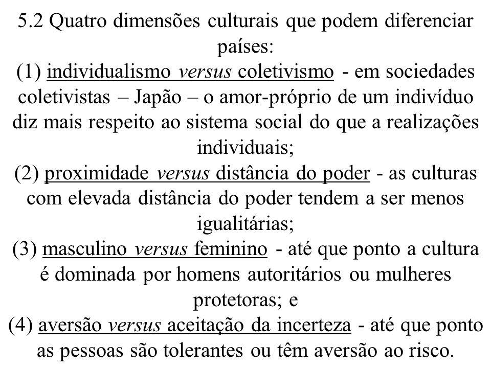 5.2 Quatro dimensões culturais que podem diferenciar países: (1) individualismo versus coletivismo - em sociedades coletivistas – Japão – o amor-próprio de um indivíduo diz mais respeito ao sistema social do que a realizações individuais; (2) proximidade versus distância do poder - as culturas com elevada distância do poder tendem a ser menos igualitárias; (3) masculino versus feminino - até que ponto a cultura é dominada por homens autoritários ou mulheres protetoras; e (4) aversão versus aceitação da incerteza - até que ponto as pessoas são tolerantes ou têm aversão ao risco.