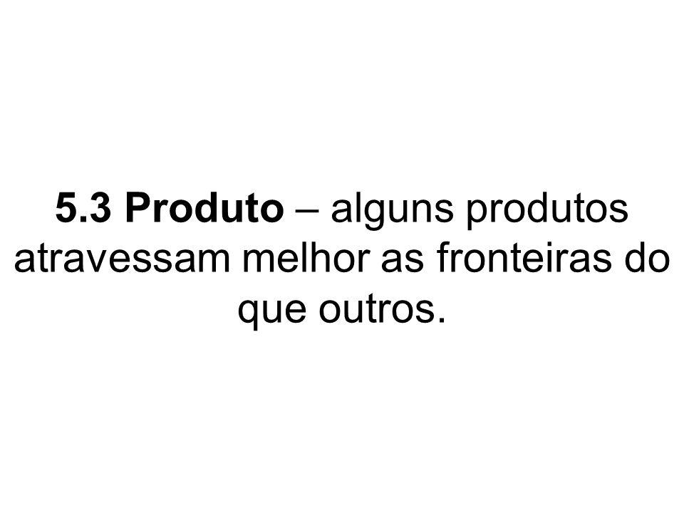 5.3 Produto – alguns produtos atravessam melhor as fronteiras do que outros.