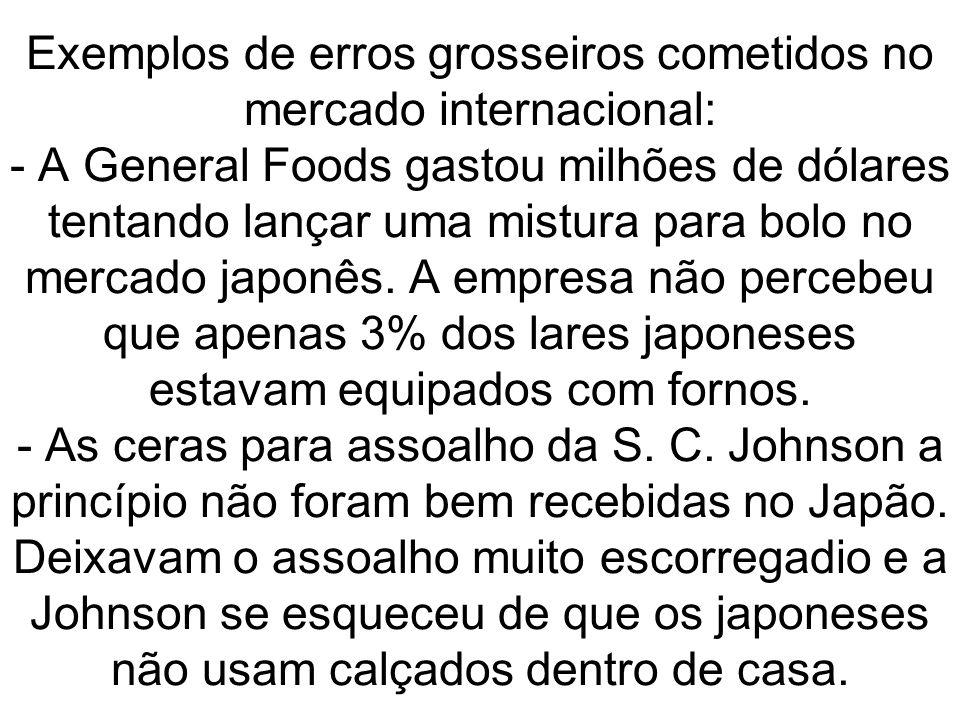 Exemplos de erros grosseiros cometidos no mercado internacional: - A General Foods gastou milhões de dólares tentando lançar uma mistura para bolo no mercado japonês.