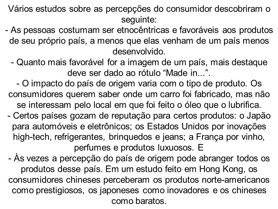 Vários estudos sobre as percepções do consumidor descobriram o seguinte: - As pessoas costumam ser etnocêntricas e favoráveis aos produtos de seu próprio país, a menos que elas venham de um país menos desenvolvido.