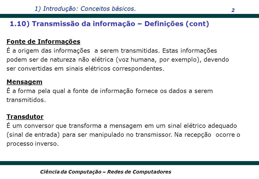 1.10) Transmissão da informação – Definições (cont)