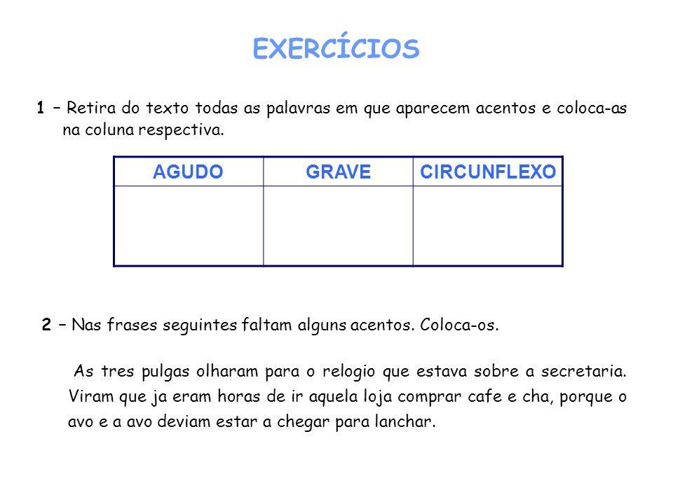 EXERCÍCIOS AGUDO GRAVE CIRCUNFLEXO