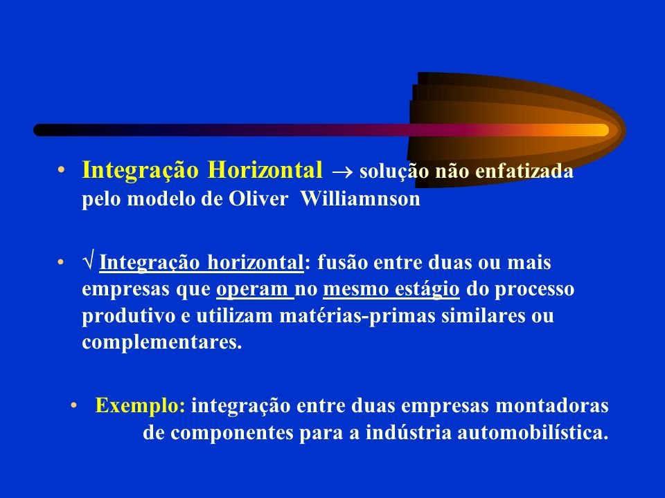 Integração Horizontal  solução não enfatizada pelo modelo de Oliver Williamnson