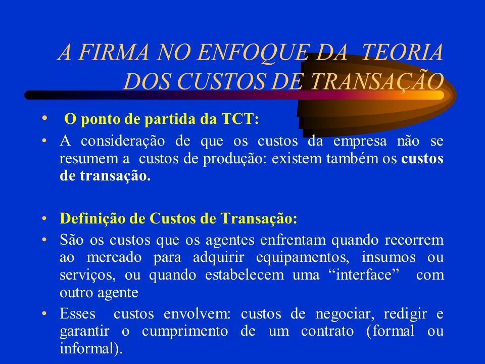 A FIRMA NO ENFOQUE DA TEORIA DOS CUSTOS DE TRANSAÇÃO