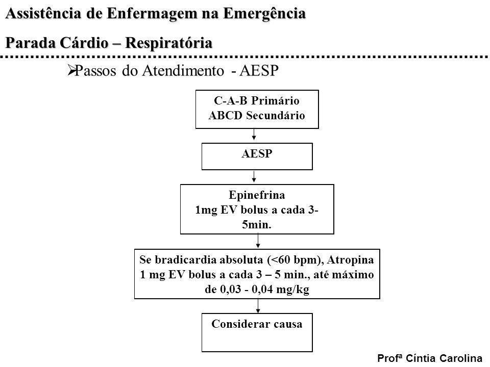 C-A-B Primário ABCD Secundário Epinefrina 1mg EV bolus a cada 3-5min.