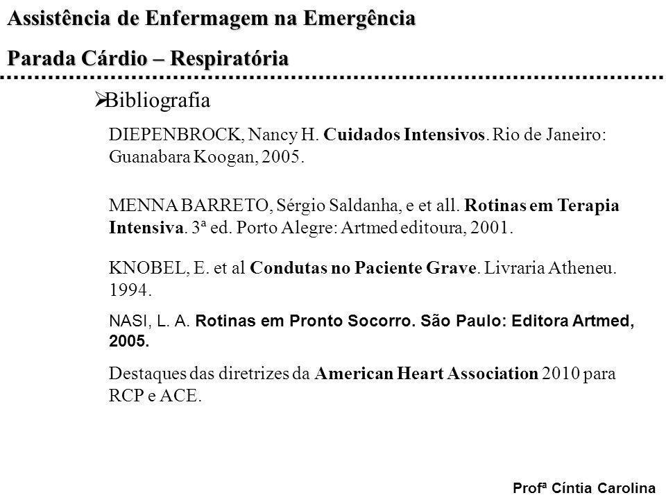 Bibliografia DIEPENBROCK, Nancy H. Cuidados Intensivos. Rio de Janeiro: Guanabara Koogan, 2005.