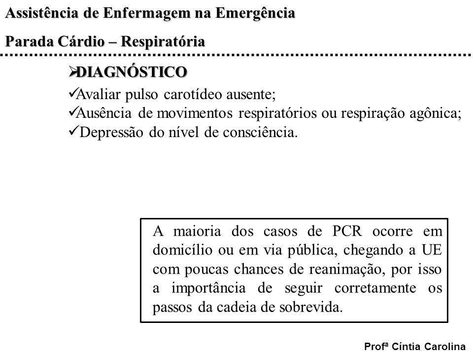 DIAGNÓSTICOAvaliar pulso carotídeo ausente; Ausência de movimentos respiratórios ou respiração agônica;