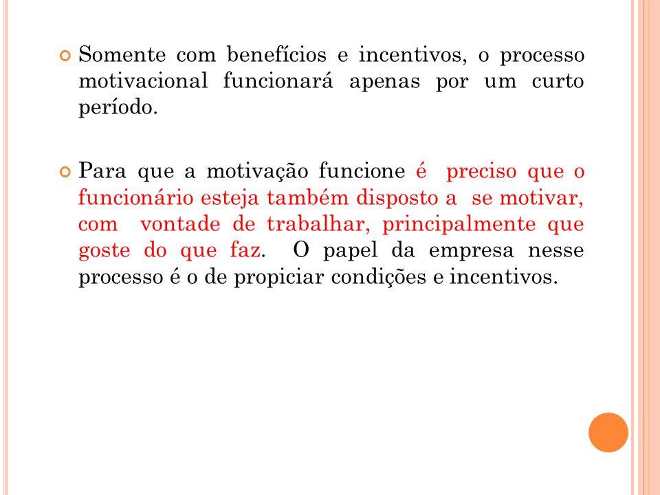 Somente com benefícios e incentivos, o processo motivacional funcionará apenas por um curto período.
