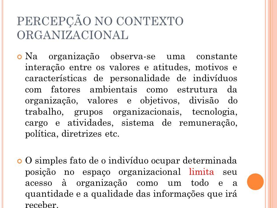 PERCEPÇÃO NO CONTEXTO ORGANIZACIONAL