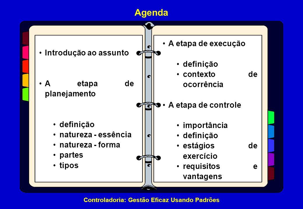 Agenda A etapa de execução Introdução ao assunto definição