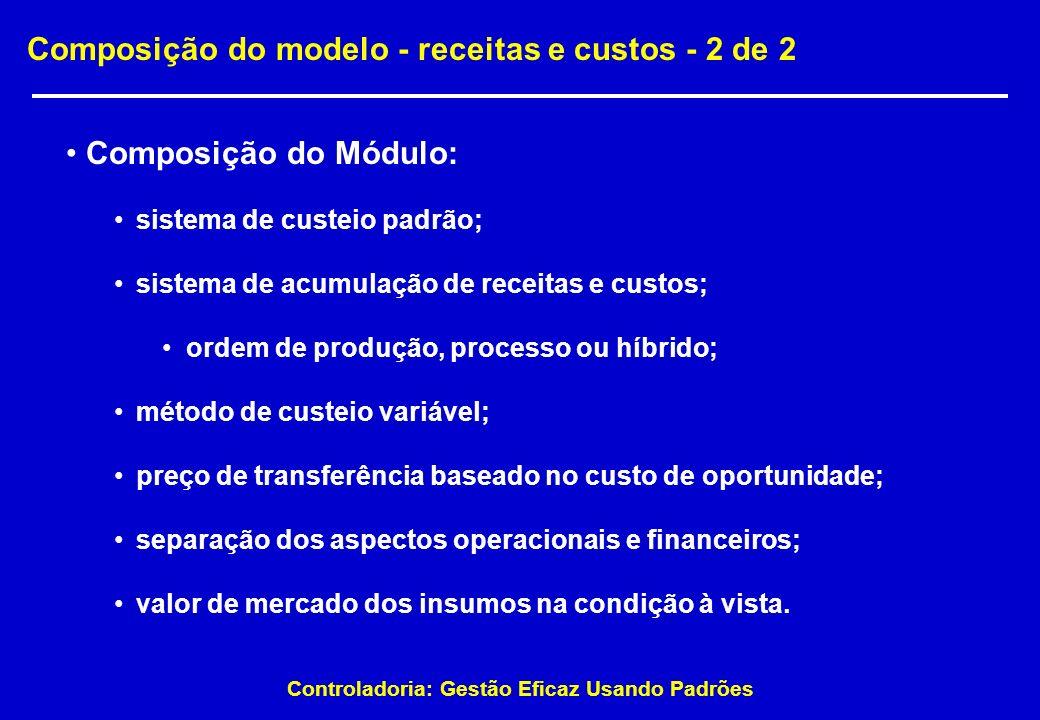 Composição do modelo - receitas e custos - 2 de 2