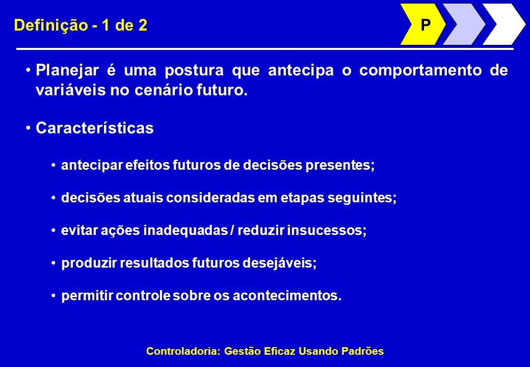P Definição - 1 de 2. Planejar é uma postura que antecipa o comportamento de variáveis no cenário futuro.
