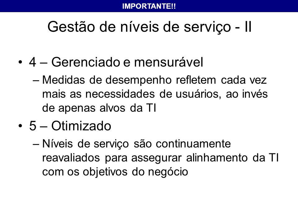 Gestão de níveis de serviço - II