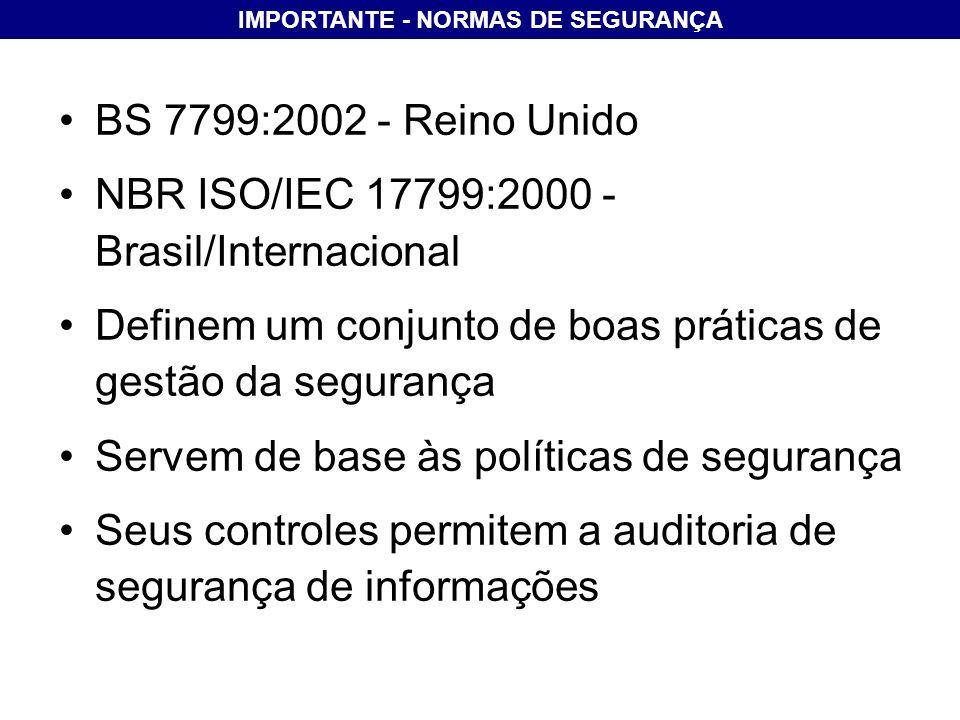 IMPORTANTE - NORMAS DE SEGURANÇA