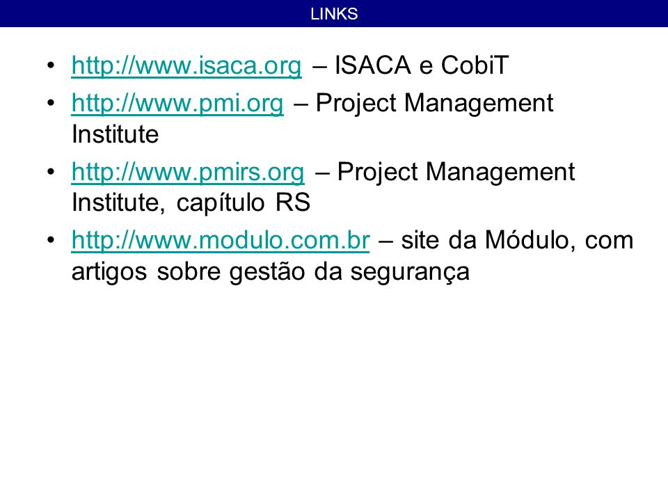 http://www.isaca.org – ISACA e CobiT